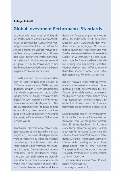 Global Investment Performance Standards