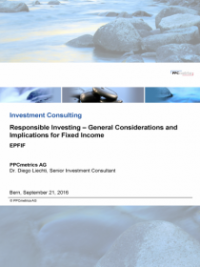 Responsible Investing – General Considerations and Implications for Fixed Income