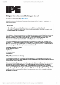 Illiquid Investments: Challenges ahead